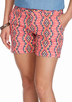 Red Camel Twill Printed Shorts