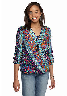 Red Camel Mix Print Wrap Front Top