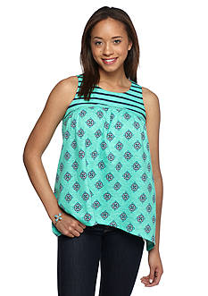 Red Camel Printed and Embroidered Yoke Tank