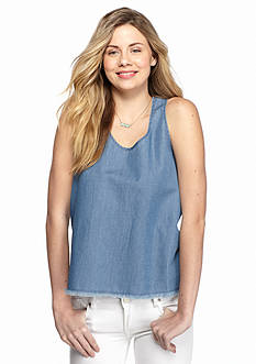 Red Camel Chambray Split Back Tank