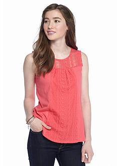 Red Camel Embroidered Mesh Yoke Tank