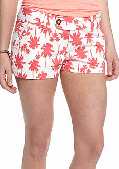 Red Camel Neon Palm Print Twill Tab Shorts