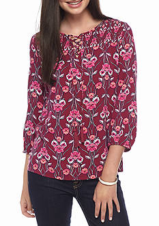 Red Camel Print Lace Up Top