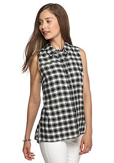 Red Camel Plaid Button Front Tunic