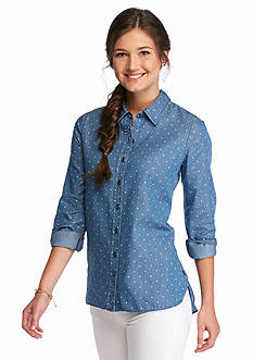Red Camel Polka Dot Side Button Chambray Top