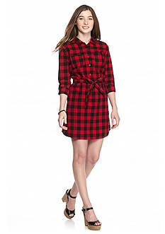 Red Camel Plaid Shirt Dress
