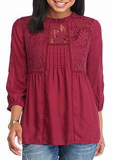 Red Camel Lace Ruffle Neck Peasant Top