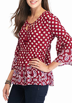 Red Camel Tiered Peasant 3/4 Sleeve Top