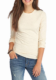 Red Camel Crew Neck Rib Knit Top