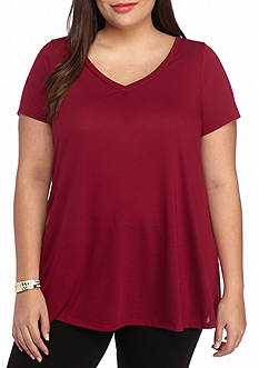 Red Camel Plus Size Slit Swing Tee