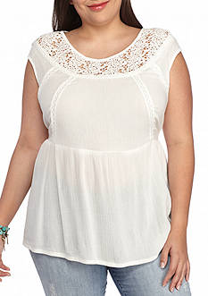Red Camel Plus Size Crochet Neck Top