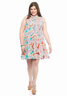 Red Camel Plus Size Printed Mock Neck Knit Dress