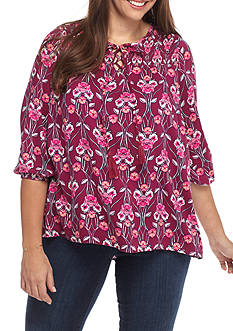 Red Camel Printed Lace-up Top