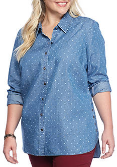 Red Camel Plus Size Polka-Dot Chambray Top
