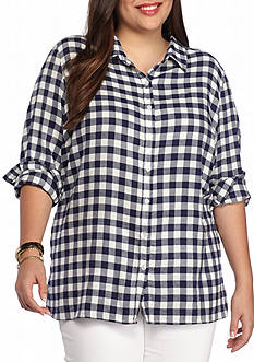 Red Camel Plus Size Plaid Top