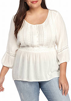 Red Camel Plus Size Peasant Top