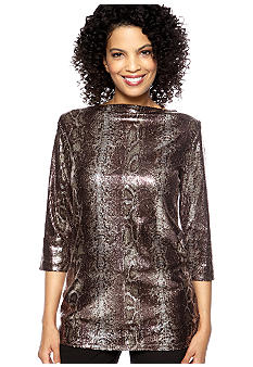 Anne Klein Sequin Snakeskin Print Top