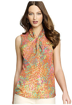 Anne Klein Sleeveless Colorful Snake Print Blouse