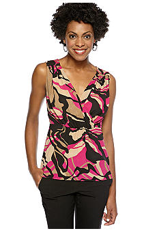 Anne Klein Sleeveless Abstract Camouflage Print Surplice Blouse