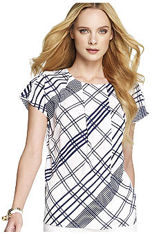 Anne Klein Plaid Blouse