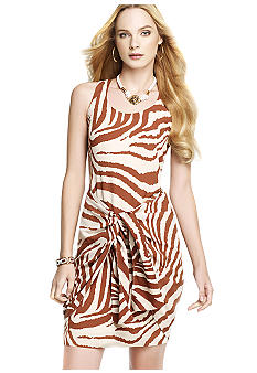 Animal Print Tie Front Dress