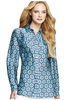 Anne Klein Hexagon Printed Button Down Blouse