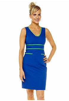 Anne Klein Contrast Sheath Dress with Ribbon Trim
