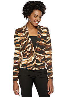 Anne Klein Animal Printed Ponte Blazer