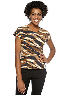 Anne Klein Animal Print Peplum Top