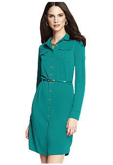 Anne Klein Button Down Shirt Dress with Belt