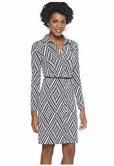 Anne Klein Diamond Print Button Down Dress with Belt
