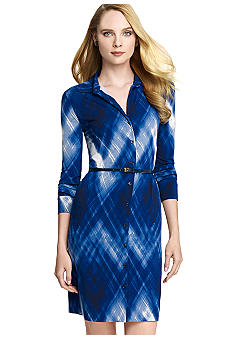 Anne Klein Brush Print Button Down Dress with Belt