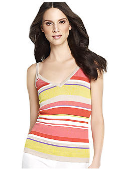 Anne Klein Stripe V-Neck Tank
