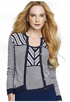 Anne Klein Long Sleeve Stripe Cardigan