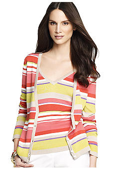 Anne Klein Stripe V-Neck Cardigan