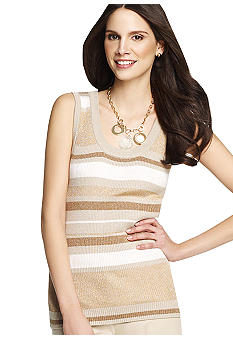 Anne Klein Scoop Neck Stripe Tank Shell