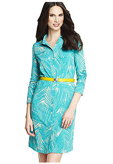 Anne Klein Palm Tree Printed Button Down Shirt Dress