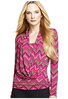 Anne Klein Zig Zag Cowl Neck Top