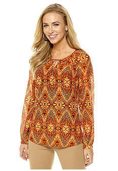 Anne Klein Ikat Print Split Neck Blouse
