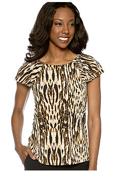 Anne Klein Animal Print Top with Flutter Sleeves