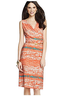 Anne Klein Stripe Print Drape Neck Dress