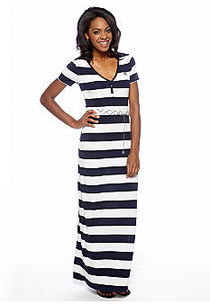 Anne Klein Stripe Print Maxi Dress with Belt