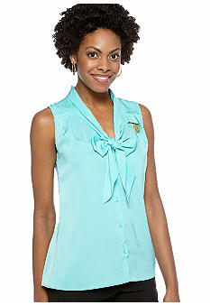 Anne Klein Sleeveless Bow Blouse with Lion Logo Pin