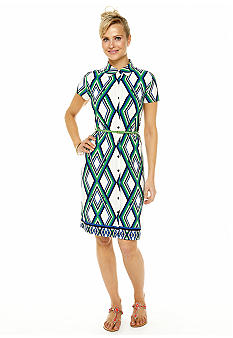 Anne Klein Lattice Print Belted Button Down Dress