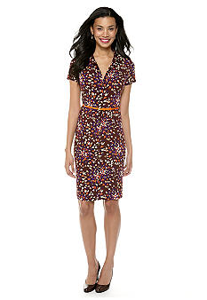 Anne Klein Abstract Floral Print Button Down Dress