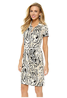 Anne Klein Moire Print Button Down Dress