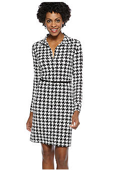 Anne Klein Houndstooth Button Down Dress with Belt