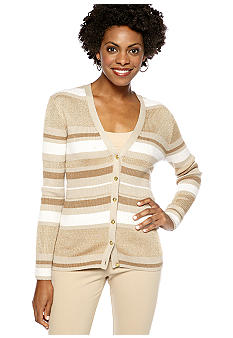 Anne Klein V-Neck Stripe Lurex Cardigan