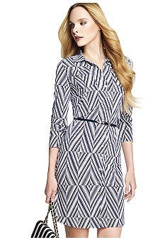 Anne Klein Button Down Printed Shirt Dress with Belt