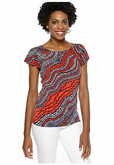 Anne Klein Abstract River Stream Print Flutter Sleeve Top